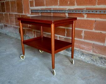 1950's Mid Century Modern expandable Teak Bar Serving Cart  Mobelfabrik A/S by Ole Wanscher