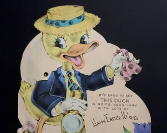 Vintage Easter Card with Moving Parts Duck