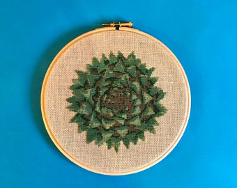 Succulent cross stitch, Plant lover gift, cactus cross stitch, plant cross stitch, modern cross stitch, botanical embroidery, finished piece