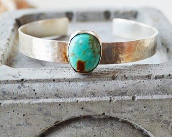 Hammered Silver Turquoise Cuff Bracelet/8 mm Sterling Silver Cuff Bracelet /Gemstone Cuff Bracelet/Gift for Her Bracelet/Hand Forged Cuff