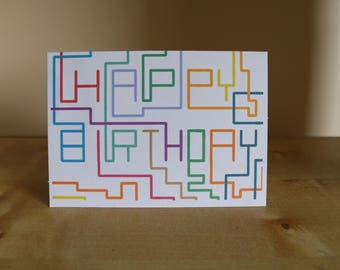 Tetris Happy Birthday Card