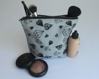SALE *Was 20* Diamond Print Cosmetic Bag, Makeup Bag, Organizer Bag, Handprinted, Small Bag,
