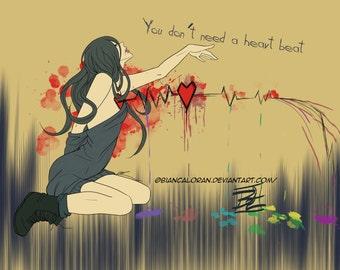 "Don't Need a Heart Beat Art Print - 8""x10"" or 11x14"" - original anime manga girl art - Bianca Loran Art"