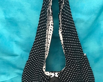 Black and White Reversible Slouch Bag
