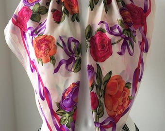 Vintage silk scarf Oscar de la Renta Large shawl Roses and ribbon print made in Japan Pink orange purple Gold gilded gift for her 35 ""