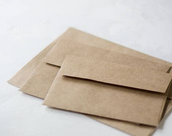 Brown Kraft Envelopes - Square Flap - 25 pc - A1 4 Bar / A2 / A6 / A7
