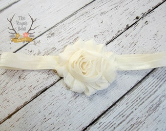 Ivory / Cream Baby Headband - Soft Elastic with Shabby Chiffon Rosette - Newborn Baby Infant- Photo Prop