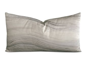 "Silk Linen Cream Marble Decorative Pillow Cover 15"" x 26"""