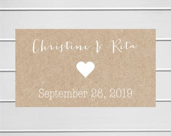 Save The Date Stickers, White Ink on Kraft Save the Date, Kraft Wedding Envelope Seals, Kraft Wedding Stickers (#197-3-KR-WT)