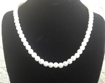 White beaded necklace,free shipping