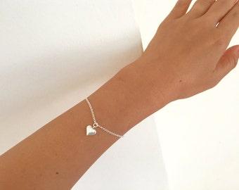 100% sterling silver heart bracelet, heart bracelet, dainty silver bracelet, bridesmaid jewelry, everyday silver bracelet