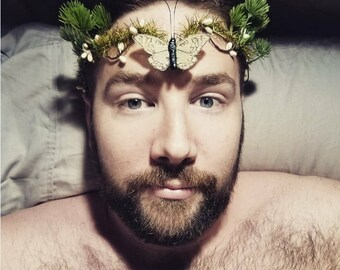 Butterfly and Conifer Winter Woods Circlet