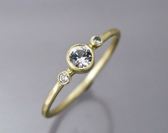 White Sapphire and Diamond Engagement Ring  in Solid 14k Yellow Gold - Ready to Ship in Size 6.5