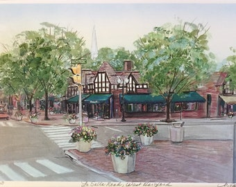 """LaSalle Road West Hartford, wall art scene of West Hartford Ct, 11""""x14"""" matted print, richly colored gift priced art work"""