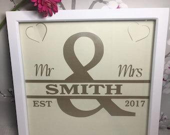 Personalised Name Paper Cut Wedding Anniversary Gift