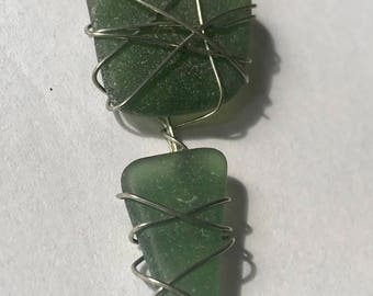 Dark Green Double Sea Glass Pendant Necklace