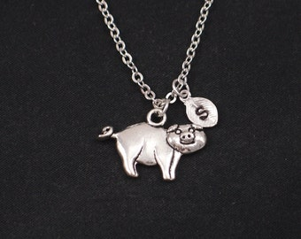 pig necklace, sterling silver filled, initial necklace, silver pig charm, pig charm necklace, fun necklace, animal jewelry, girls jewelry