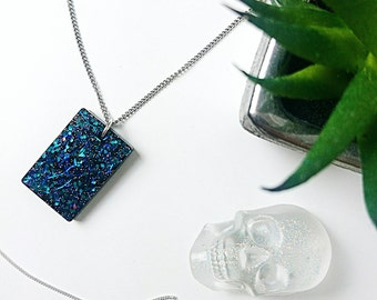 "Sample Sale // Starry Nights Necklace // Handmade Mixed Glitter Sparkle Resin Pendant // 20"" Silver Plated Chain"