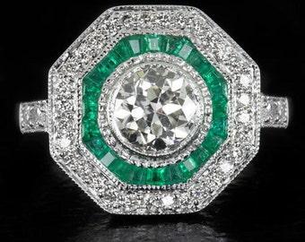 1.6CTTW Art Deco Diamond Ring Original Vintage Old Transitional Cut EGL-USA Certified Antique Emerald Halo Cocktail 14K White Gold 7965