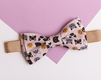 Toddler Bowtie Ring bearer gift Boys Bow tie Pink Cotton Bowties for men Page boy outfit Animal print Cat lover Pet lover gift Kitten Kitty