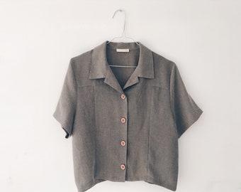 Vintage Wearhouse Button Up Grey Blouse S/M