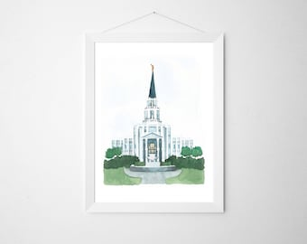 Houston LDS Temple Original Watercolor | First Christmas Gift | LDS Christmas Gift