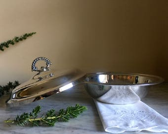 Silver Serving Dish with Handled Lid // Covered Silver Dish