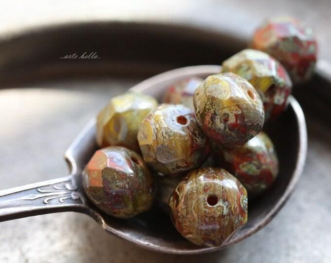 MOSSY BRICKS .. 10 Premium Picasso Czech Glass Rondelle Beads 6x8-9mm (B100-10)