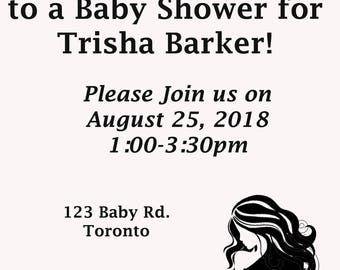 Baby Shower Invitation, Printable, Custom, 4x6