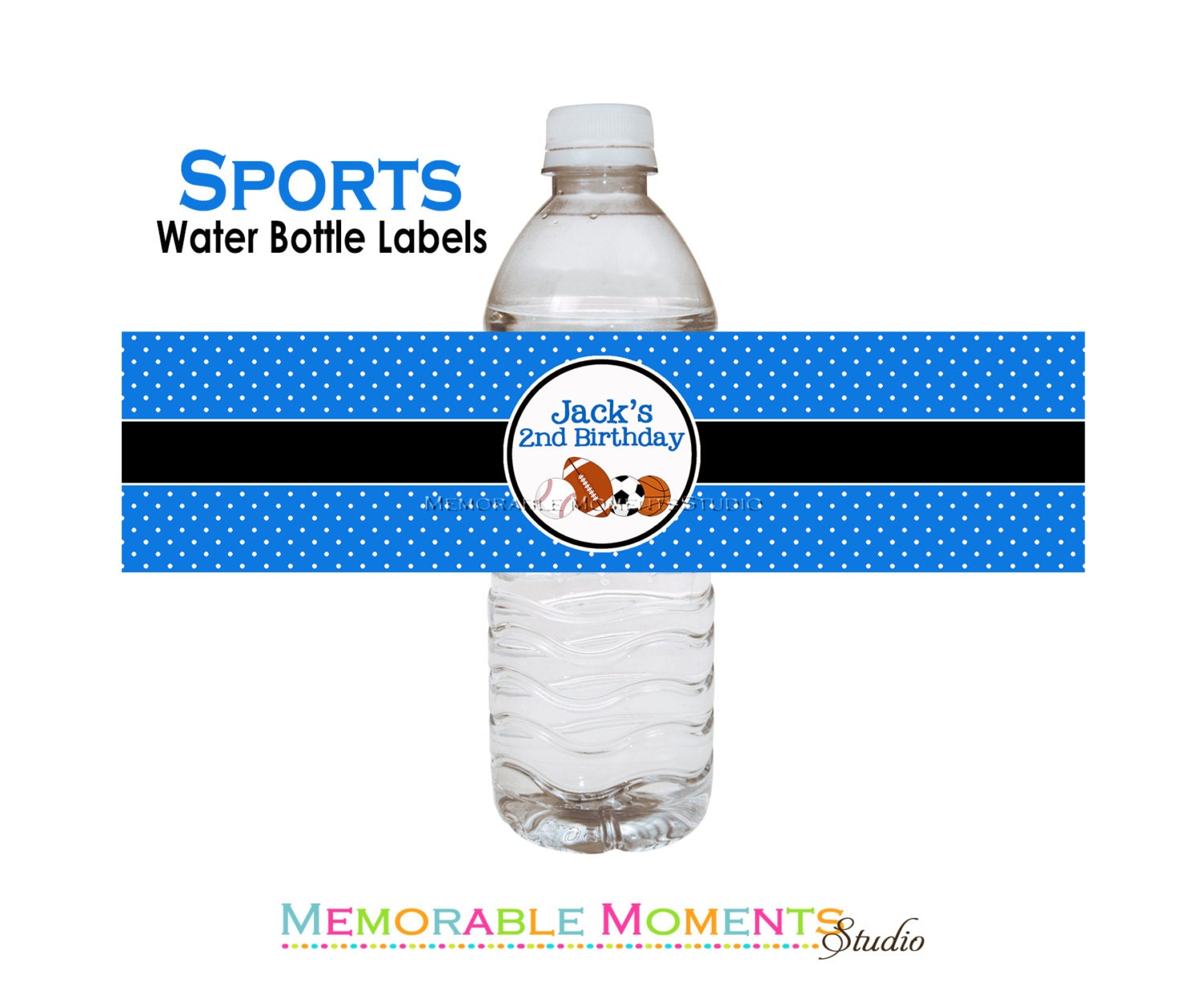 Personalized Sports Bottle Labels: PRINTABLE WATER BOTTLE Labels Sports Birthday Party Collection