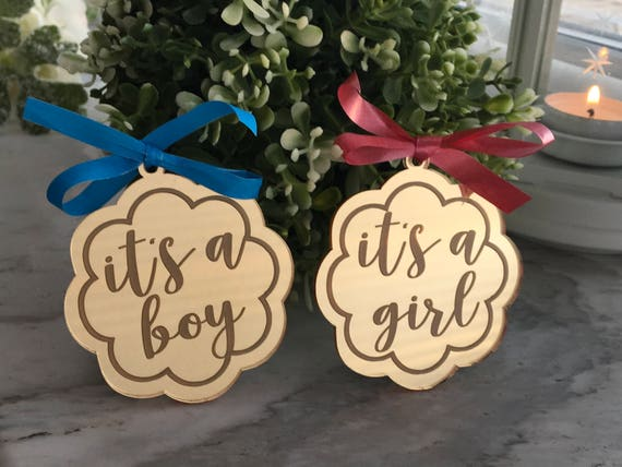 It's a Girl Ornament It's a Boy Gift Tags Baby Shower Party Favor Tags Custom Personalised New Baby Decorations Thank You Bauble Label Tags