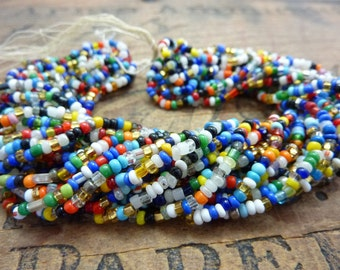 Antique Seed Bead Italian Multi Color Glass Trade Seed Beads Size 8