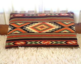 Vintage Decorative Embroidered pillow. Vintage Woolen Pillow Case. Antique Art Folk Pillow