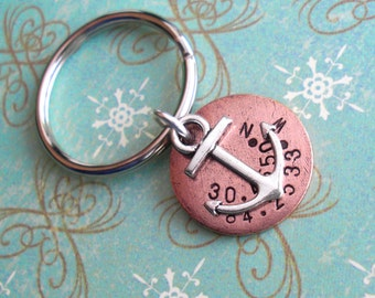 Nautical GPS Coordinates & Anchor Keychain Disc. Hand Stamped custom Lat/Long antiqued metal. Copper, Silver, Gold. Father Men Guy Dad Gift