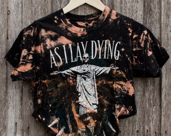 As I Lay Dying - Distressed shirt - Custom band shirt - Reworked band tee - Bleached shirt - Shredded Dreams - Small
