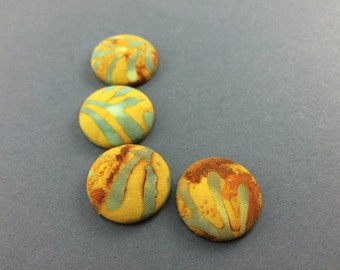 4 Fabric Covered Button Magnets, Yellow Orange Batik, Fridge Magnets, Kitchen Decor, Wedding Favors