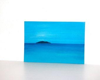 Sea painting, island painting, water painting, adventure painting,Mediterranean sea island acrylic painting
