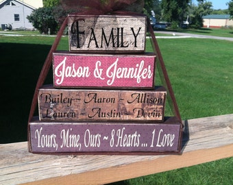 4 tier wood block set family parents kids special saying housewarming blended family wedding date personalized