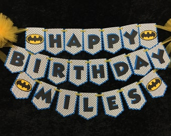 Batman Inspired Personalized Birthday Banner - Perfect for your child's birthday party!
