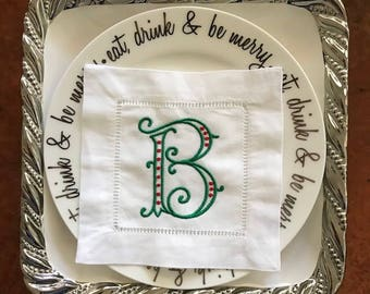 Green Arabesque Monogram with Red Dots Embroidered Linen Cocktail Napkin