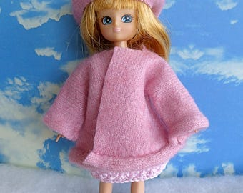 HANDMADE CASHMERE COAT and Beret and Handknitted Dress for Lottie and Mini American Girl and other 7 in/17cm dolls