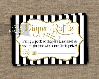 Black & Gold Diaper Raffle Tickets -  Baby Shower Game - Printable Black Raffle Tickets - Baby Diaper Shower Party - INSTANT DOWNLOAD - BGL