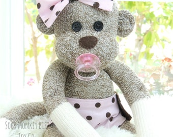 Sock Monkey Baby Doll with Pacifier