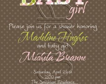 25 5x7 Baby Girl Shower Invitations