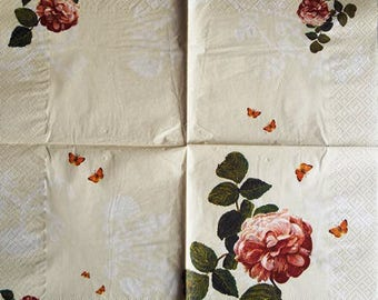PAPER pink rose and Butterfly #F106 TOWEL