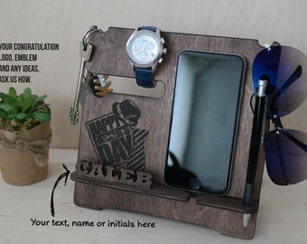 Custom phone stand, fathers day gift from daughter, Charging Station, watch holder, docking station, desk organizer, gift for dad Key Holder