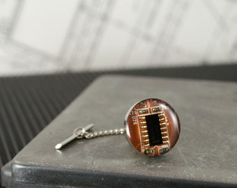 Circuit Board Tie Tack Orange, Computer Jewelry, Gift for Graduate, Father's Day Gift, Wearable Technology, Industrial Chic, Techie Tie Pin