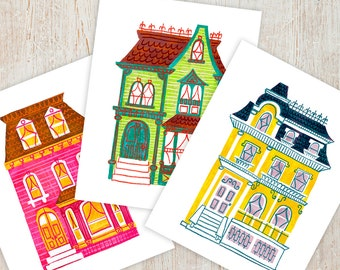 PAINTED LADIES Printable Instant Download jpg Digital Wall Art Print Houses Victorian San Francisco Architecture Illustration Retro
