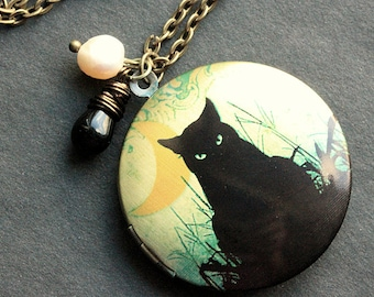 Cat Locket Necklace. Black Cat Necklace with Black Teardrop and Fresh Water Pearl. Handmade Jewelry.