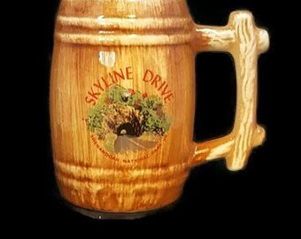 Skyline Drive Vintage Mug Wooden Barrel Brown Glaze Shenandoah National Park Virginia Tunnel Souvenir Tree Coffee Mug Retro Mug Barrel